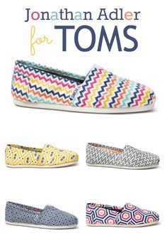 Jonathan Adler for TOMS - colorful geometric classics. Limited edition for spring 2014.