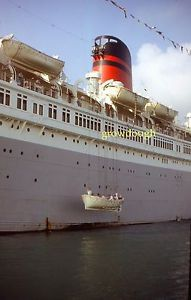35mm-Slide-Queen-of-Bermuda-Cruise-Ship-1964-Life-Boat-Testing