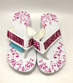 1a7f8583d62b6 Women s Flip Flops Sandal Thong Rubber Foam With Pink Floral Size 8   Unbranded  FlipFlops