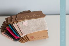 Great way to display the coffee cozies to give as gifts!  Also another style of cozy that could be done.