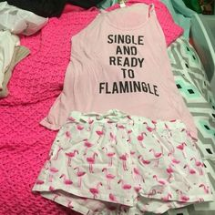 Forever 21 pj set Single and ready to flamingle pj set Forever 21 Intimates & Sleepwear Pajamas