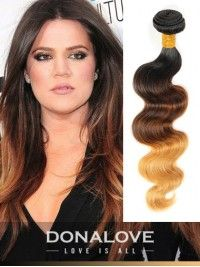 ombre indisch remy clip in hair extensions od003 drei farben ombre ...
