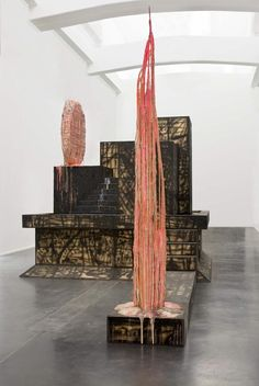 Sterling Ruby - Recondite (and 2 details), 2007 (PVC pipe, plastic urethane, wood, aluminum, spray paint, 13 parts. Overall dimensions: 464.8 x 853.4 x 426.7 cm)