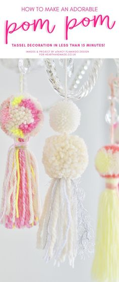 have you been trying to find amazing yarn crafts ideas? Or some pretty yarn projects to make in the summer? Check out this tutorial that teaches you how to make beautiful pom pom tassel yarn crafts to decorate your home! Make a glorious garland from these Easy Yarn Crafts, Easy Craft Projects, Yarn Projects, Diy Crafts For Kids, Crochet Projects, Knitting Projects, Crochet Ideas, Summer Crafts, Sewing Projects