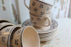 SET of 6 Laura Ashley Flat Cup and Saucer by RoyalRabbitDesigns