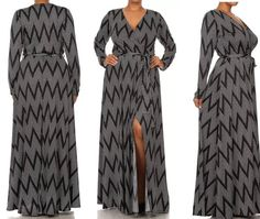 New Sexy Plus Size Black Chevron Print Wrap Dress With Open Slit Size  – Fabulously Dressed Boutique