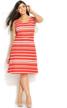 Plus Size Striped A-Line Dress