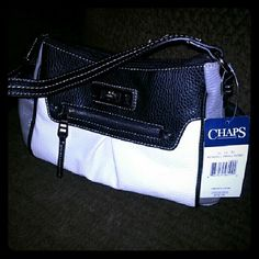 "Chaps Kendall small black white gray mini hobo bag Chaps Kendall small black white gray mini hobo bag. On zip pocket in front. One zip and two small slip pockets inside. Black lining. Silver hardware. About 11"" long (approx) Chaps Bags Hobos"
