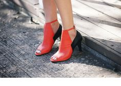 Orange Ankle Bootie Open Toe Heels Custom Made Hand Made Leather Made To Order