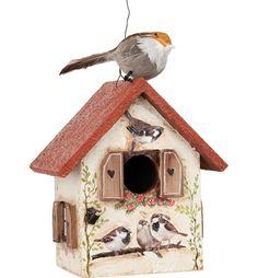 vogelhuisje met musjes - vogelhuisjevoorbeeld - Volgelhuisje met mussen zet alle benodigheden in het