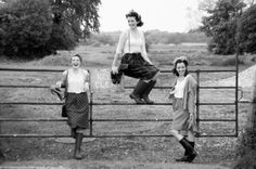 old fashioned gals with wellington boots