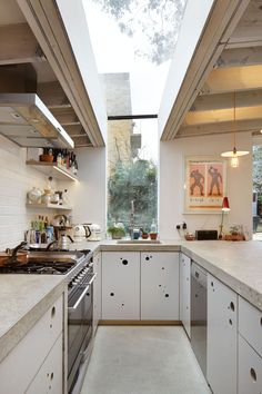 Concrete countertop below skylight.