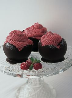 Chocolate Cups Filled With Raspberry Mousse recipe | Valentine's Day recipes