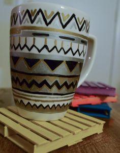 Tribal Mug // Bohemian Style Mug // Geometric Mug 11oz white mug hand painted with a tribal bohemian style design using black silver and black chevron and straight lines going horizontal around the mug