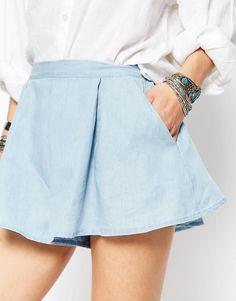 Image 3 ofGlamorous Chambray Denim Shorts