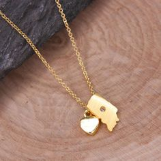 Indiana Necklace, Dainty State Necklace, Souvenir Gift, Home Necklace, USA Necklace, State Charm Necklace, Gold Necklace BN432G-IN by LaurenSpencerJewelry on Etsy