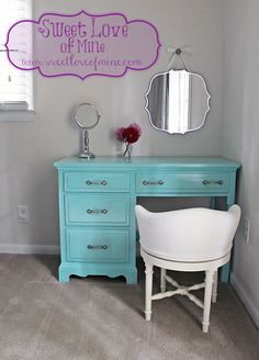 Rehabbing Furniture - DIY Desk to Vanity Tutorial ~ www.SweetLoveofMine.com