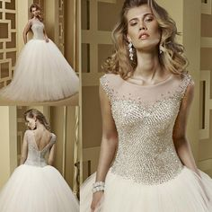 New Design Couture Luxury Rhinestones Crystals Ball Gown Wedding Dress 2015 Bridal Dresses Tulle Robe De Mariage W3841