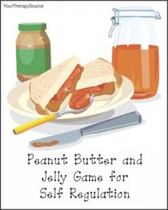 The Peanut Butter and Jelly Game requires 2 balls where the peanut butter ball is thrown and the jelly ball is rolled to other players. This game encourages self-regulation, concentration, motor planning, timing, and coordination.