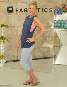 Subtle product placement: Kate Hudson flaunted her toned figure at the launch of her Fabletics spring collection