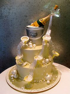 CAKE!  White chocolate champagne bottle, bubbles and glasses pour a fountain of fun for New Years!