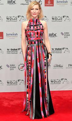 Cate Blanchett in a multicolor Armani gown