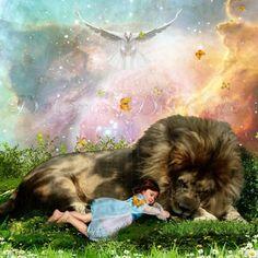 Holy Rest by Dolores Develde Fantasy Landscape, Fantasy Art, Lion Wallpaper, Jesus Painting, Bride Of Christ, Prophetic Art, Lion Of Judah, Lion Art, Jesus Pictures