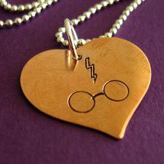 Harry Potter Necklace - I heart Harry Potter with lightning bolt scar and glasses. $18.00, via Etsy.