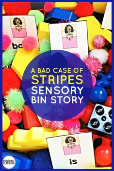 Explore A Bad Case of Stripes with this adorable sensory bin! Literacy and math task cards, plus sorting mats based on this favorite read aloud book. Bad Case Of Stripes, Teaching Reading, Learning, Mentor Sentences, Interactive Read Aloud, Read Aloud Books, Math Task Cards, Alphabet Cards, Sensory Bins