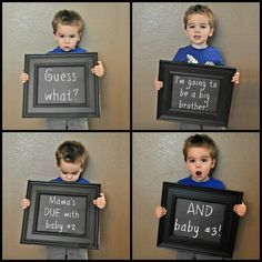 Big Brother Twin Pregnancy Announcement Idea... his face in the bottom right is PRICELESS!!!