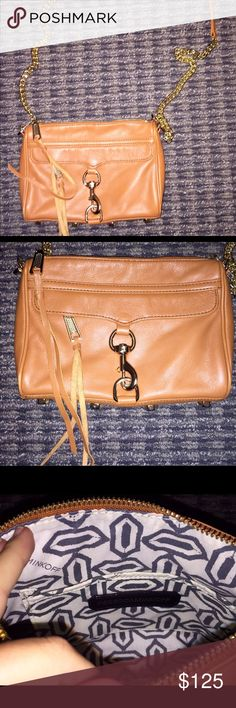 Rebecca Minkoff cross body tan cross body with gold details, comes with dust bag!! (mint condition) Rebecca Minkoff Bags Crossbody Bags