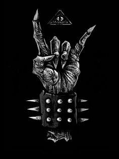 Rock on! Heavy Metal Bands, Heavy Metal Rock, Heavy Metal Music, Black Metal, Arte Horror, Horror Art, Metal Drawing, Satanic Art, Arte Obscura