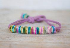 Copper-Fiber-Bead  Yarn Bracelet by jimenasjewelry on Etsy