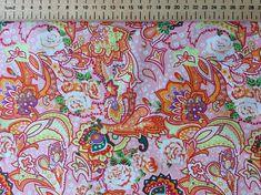 High quality cotton poplin pink/orange paisley print