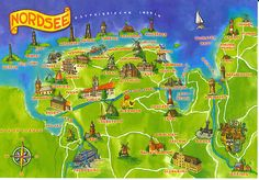 Eastern Friesland map from Willi, DE Oldenburg, Sea Poems, Seaside Beach, North Sea, Wonderful Places, City Photo, Places To Go, Germany, Illustration