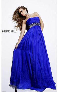 Strapless Royal Blue Evening Gown SH-3823