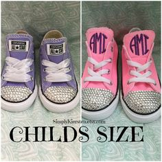5eb0de2d021f Toddlers Monogram Converse All Star  reg  Sneakers with Bling by Simply  Kiersten