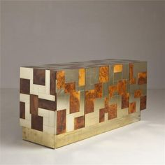 A Paul Evans Designed Brass and Burl Cityscape Collection Cabinet.