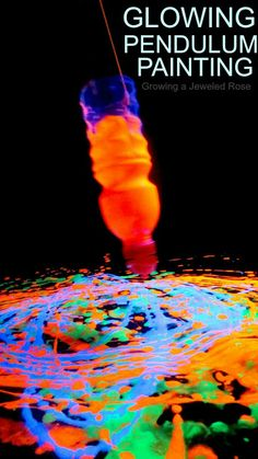 Glowing pendulum painting-  a SUPER fun way to create art with AMAZING effects, too!