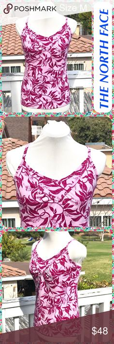 """NORTH FACE Pink Leaf Print Crossback Yoga Tank Top Yoga / exercise top from the North Face with a maroon leaf print on a dark pink background. Cross-back with adjustable straps. Built-in shelf bra. Stretchy and breathable. In Beautiful Condition!  Size M or 8 / 10 Measures 17"""" across the chest  Approx 25"""" in length. The North Face Tops Tank Tops"""