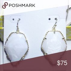 Pearl White Stone Kendra Scott Hook Earrings NWT Brand new on card with tags. We ship fast! No trades. Kendra Scott Jewelry Earrings