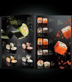 This restaurant menu catches my attention. First of all, I am a huge fan of sushi. Secondly, those sushi pictures are just like those sushi are dancing! And they look amazing! It is very clever to find this way to show the pictures Menu Restaurant, Restaurant Design, Japanese Restaurant Menu, Restaurant Identity, Menu Café, Menu Book, Menue Design, Food Menu Design, Flyer Design