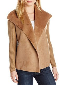 Women's Size Cascade Collar Faux Shearling Jacket, Light Fawn, Petite/Large for sale Fashion Advice, Fashion Outfits, Faux Shearling Jacket, Fall Wardrobe, Petite Size, Vest Jacket, Coats For Women, Jackets, Clothes