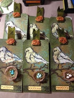 Spring tags using Dina Wakley bird stamps.