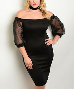 Loving this Black Off-Shoulder Bodycon Dress - Plus on #zulily! #zulilyfinds