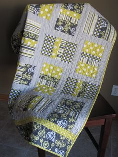 "Not Your Grandma's Quilts: ""Little Man"" Quilt; I've got similar fabrics - have to try"