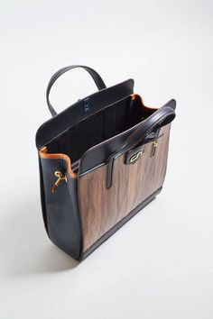 """Genue leather and real wood everyday bag with brass furniture and lizard leather bag """"First One"""" Wooden Purse, Everyday Bag, Real Wood, Leather Craft, Canvas Tote Bags, Organizers, Vintage, Etsy, Women"""