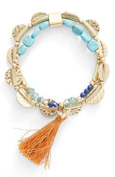 LONNA & LILLY 'Cinnamon Spice' Stretch Bead Bracelet available at #Nordstrom