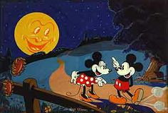 Mickey and Minnie on a Moonlit Walk, original gouache watercolor -- offered by Battledore Ltd.