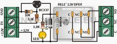 """Схема , что позволяет подключать реле 12V к любому электронному устройству. Для того, чтобы привести в действие реле необходимо только то , что вход """"IN"""" есть напряжение , превышающее 0.6В. . Он может быть использован в качестве выходного реле для Arduino"""